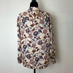 Nancy Heller Tops - Nancy Heller Vintage Printed Chairs Silk Blouse